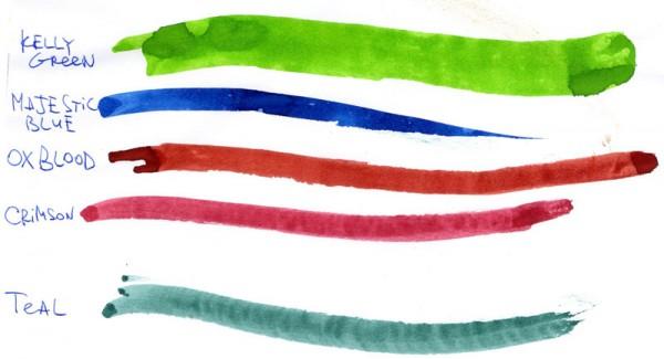 чернила Diamine - образцы на обычной бумаге
