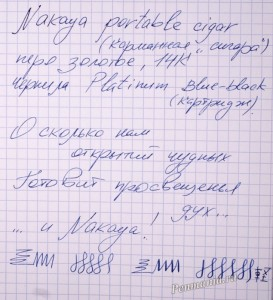 Обрацез письма пером F  Nakaya portable cigar (Япония) / writing sample