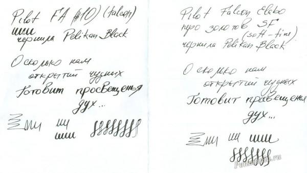 Образцы письма перьями Pilot Falcon Elabo SF и Pilot Falcon FA
