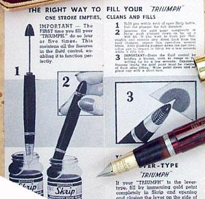 заправка вакуумной системы (рекламный плакат Sheaffer)